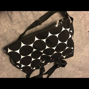 31 work bag/laptop tote black and white polka dots